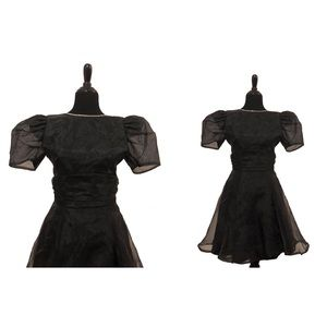 Dresses & Skirts - Vintage 1980's Black Puff Sleeve Short Party Dress